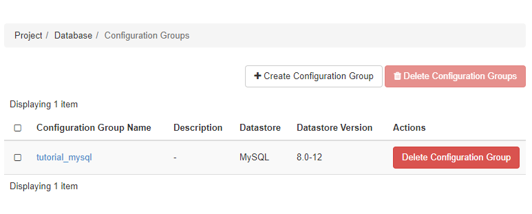 Configuration group list page with instance