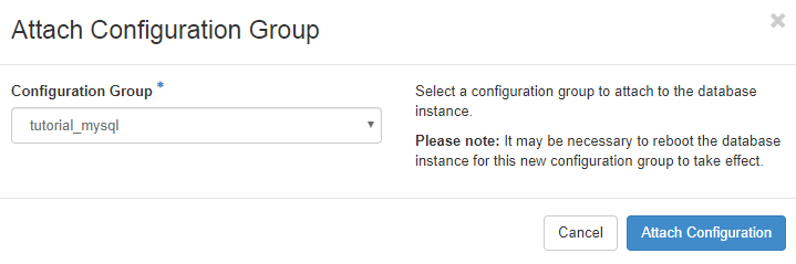 Attach Configuration Group Dialog